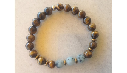 Myrina's Charm - Reiki Charged high quality Bracelet made of Tigers Eye, Jasper and Hematite gemstones