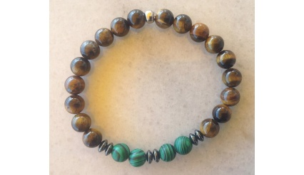 Rhodes Pharos, Charm Bracelet, Reiki Charged high quality Bracelet made exclusively of Tiger Eye, Malachite and Hematite gemstones