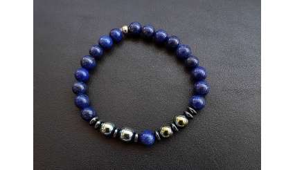 Electra Bracelet, Reiki Charged Bracelet, made of high quality Lapis Lazuli and Hematite gemstones, completely made with 8 mm beads