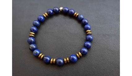 Mirage of Thaumas - Bracelet (8mm high quality beads of Lapis Lazuli and Hematite)