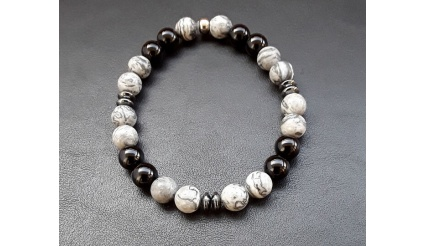 SHIVA - Parvati bracelet: Bracelet of 8mm beads of Black Onyx, Jasper and Hematite