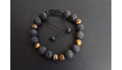Hades Breath: Step into both, the light and the darkness! (Energy Infused Bracelet), made exclusively by Tigers Eye and Lava-Stone gemstones
