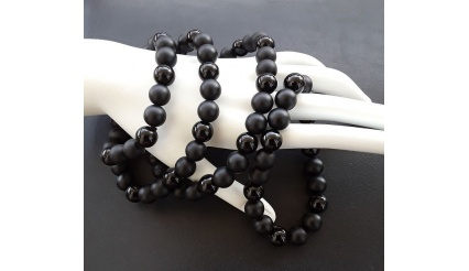Necronomicon – Energy and Reiki Charged, Charm Necklace and Bracelet, 10mm high quality beads of Black Onyx and Silver