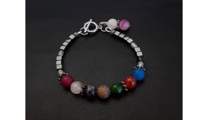 The 7 Chakras Reiki charged charm bracelet made of Silver Jasper Amethyst Hematite Clear Quartz and Agate high quality gemstones
